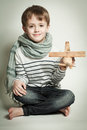 Smiling child boy with toys Royalty Free Stock Photo