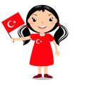 Smiling child, girl, holding a Turkey flag
