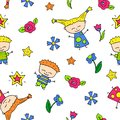 Smiling child doodle characters seamless pattern.