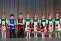 The smiling children in folk costume performs on stage moscow apr district competition crystal droplet april moscow Stock Photo