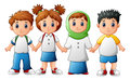 Smiling children holding hands together Royalty Free Stock Photo