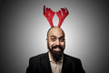 Smiling christmas bearded man Stock Image