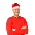 Smiling christmas man wearing a santa hat Royalty Free Stock Image