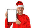 Smiling christmas man wearing a santa hat Royalty Free Stock Images