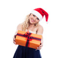 Smiling christmas woman giving present beautiful isolated on white background Royalty Free Stock Images