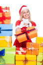 Smiling christmas woman giving presents beautiful isolated on white background Royalty Free Stock Images