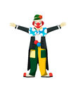 Smiling clown open arms isolated over white Royalty Free Stock Photo
