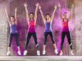 Smiling colorful girls dance outside Royalty Free Stock Photo
