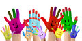 Smiling colorful hands raised up Royalty Free Stock Photos