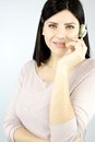 Smiling confident call center woman professional business on the phone Royalty Free Stock Photos