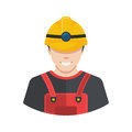 Smiling construction worker builder icon avatar flat. Royalty Free Stock Photo