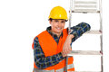 Smiling construction worker with ladder in yellow helmet and orange waistcoat waist up studio shot isolated on white Stock Photos