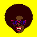 Smiling cool dude face black man with afro hair and sunglasses vector Royalty Free Stock Photo