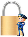 A smiling cop beside the giant padlock illustration of on white background Royalty Free Stock Photo