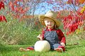 Smiling country boy baby in autumn foliage a cute is sitting outside the grass with a white pumpkin on a sunny day wearing a straw Royalty Free Stock Photo