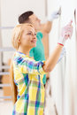 Smiling couple doing renovations at home repair renovation and concept Royalty Free Stock Photos
