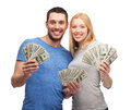 Smiling couple holding dollar cash money finance and family concept Stock Photos