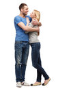 Smiling couple hugging and looking at each other love family concept Stock Images