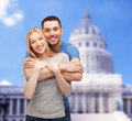 Smiling couple hugging love and family concept Royalty Free Stock Images