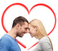Smiling couple looking at each other love and family concept Stock Images