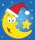 Smiling crescent moon with santa hat and happy christmas star cartoon characters Stock Images