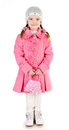 Smiling cute little girl in coat isolated over white Royalty Free Stock Photography