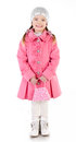 Smiling cute little girl in coat isolated over white Royalty Free Stock Images