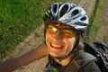 Smiling cyclist close-up Royalty Free Stock Image