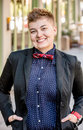 Smiling Dapper Gender Fluid Young Woman Royalty Free Stock Photo