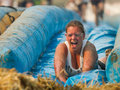 Smiling down the slide boise idaho usa august unidentified woman smiles at dirty dash in boise idaho on august Royalty Free Stock Photography