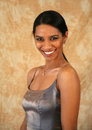 Smiling east indian lady a beautiful has a great toothy smile beautiful olive skin tone Stock Photos