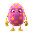 Smiling easter egg funny d cartoon character happy cheerful amusing isolated on white background Royalty Free Stock Photo