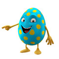 Smiling easter egg funny d cartoon character showing hands happy cheerful amusing isolated on white background Royalty Free Stock Images