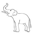 Smiling the elephant sideways up the trunk. vector illustration