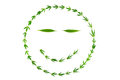 Smiling face with gooks made of hemp leaves