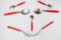 Smiling face out of cutlery made spoons and forks Royalty Free Stock Photography
