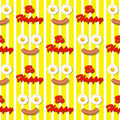 Smiling facer make with fried eggs and sausage seamless pattern egg in face Royalty Free Stock Photos