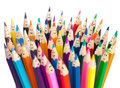 Smiling faces colorful pencils social networking concept as people isolated communication Stock Image