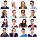 Smiling faces portraits of men and women and laughing Royalty Free Stock Photography