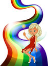 A smiling fairy above the rainbow Royalty Free Stock Photography