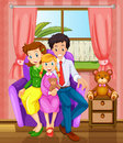 A smiling family inside the house illustration of Stock Photography