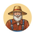 Smiling farmer in straw hat. Gardener or beekeeper vector illustration