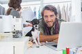 Smiling fashion designer with his chihuahua Royalty Free Stock Photo