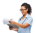 Smiling female african american doctor or nurse Royalty Free Stock Photo