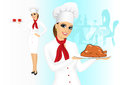 Smiling female chef with christmas roasted turkey portrait of Royalty Free Stock Image