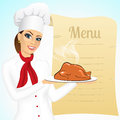 Smiling female chef with christmas roasted turkey portrait of against blank retro scroll of menu Royalty Free Stock Photography