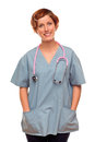 Smiling Female Doctor or Nurse on White Royalty Free Stock Photo