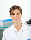 Smiling female researcher portrait of in hospital Royalty Free Stock Image