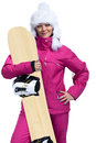 Smiling female snowboarder woman with snowboard posing over beautiful landscape Stock Photography