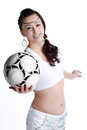 Smiling female to send soccer asian woman happy playing football Royalty Free Stock Images